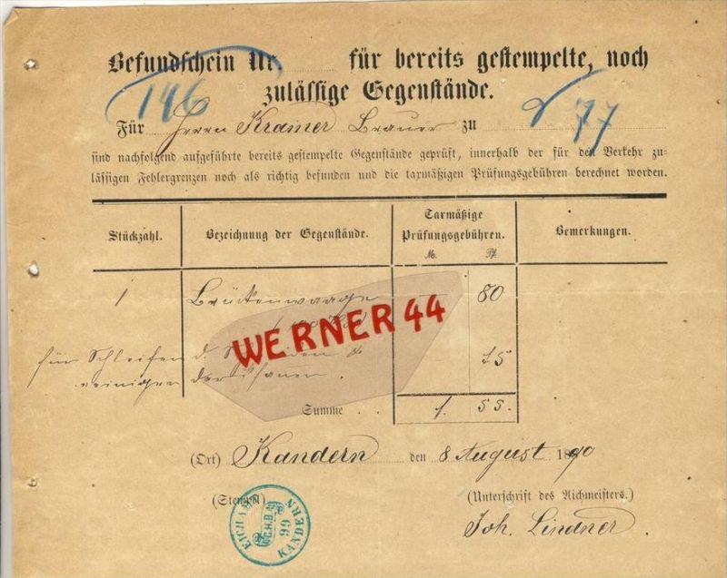 Kandern v. 1890 Gefundschein für bereits gestempelte ,noch zulässige Gegenstände-- siehe Foto !!  (069)