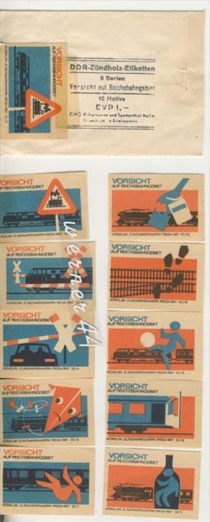 Reichsbahn v. 1964  DDR-Zündholz-Etiketten -- 1 Serie = 10 Stück - siehe Foto!!  (28999-76)