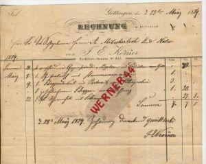 Göttingen v. 1859   F.E. Körner,Barfüsser Str. 347 (Gasthof) -- siehe Foto !!   (40135) 0