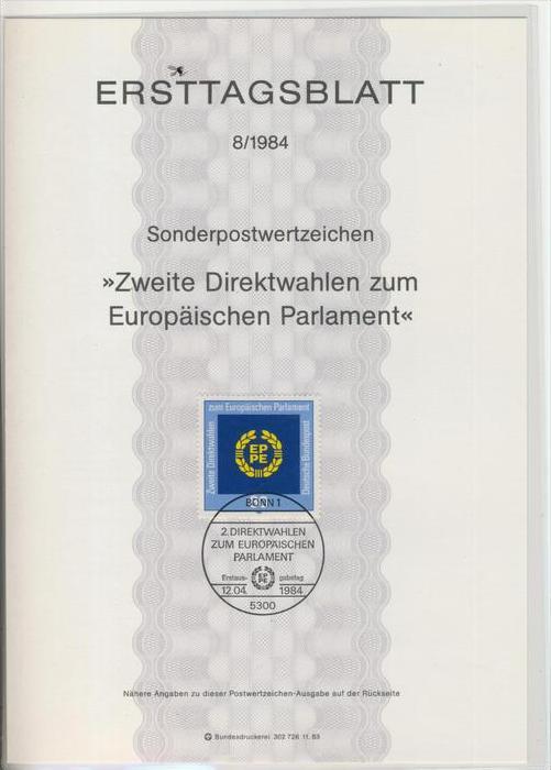 BRD - ETB (Ersttagsblatt)  8/1984 -- Zweite Direktwahlen zum Europäischen Parlament