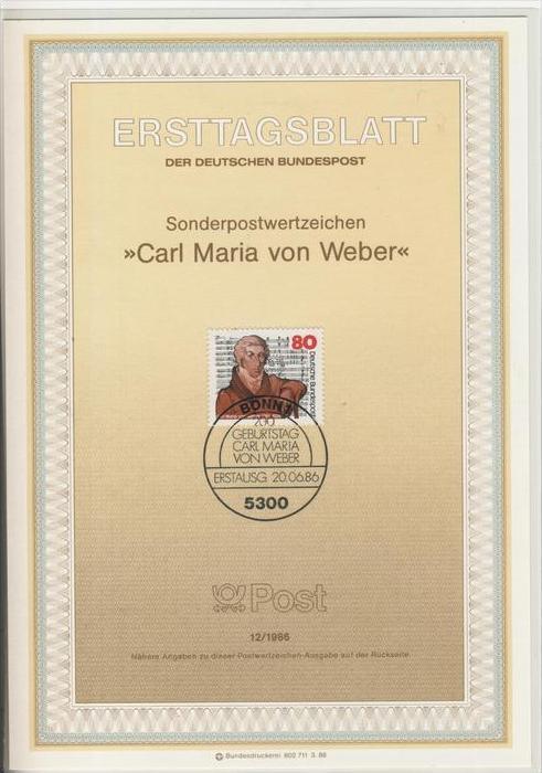 BRD - ETB (Ersttagsblatt)  12/1986 -- Carl Maria von Weber