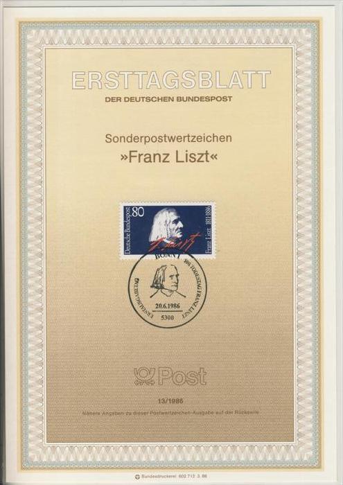 BRD - ETB (Ersttagsblatt)  13/1986 -- Franz Liszt