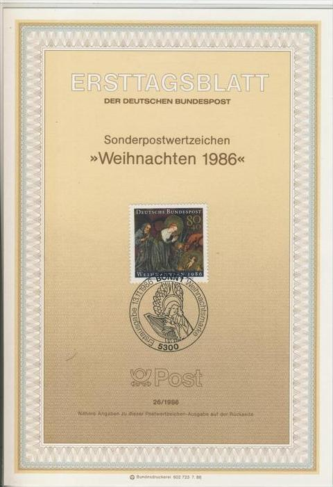 BRD - ETB (Ersttagsblatt)  26/1986 -- Weihnachten 1986