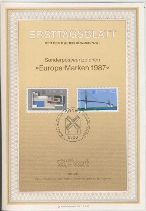 BRD - ETB (Ersttagsblatt)  12/1987 -- Europa Marken