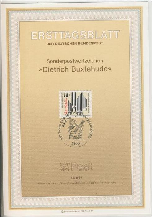 BRD - ETB (Ersttagsblatt)  13/1987 -- Dietrich Buxtehude