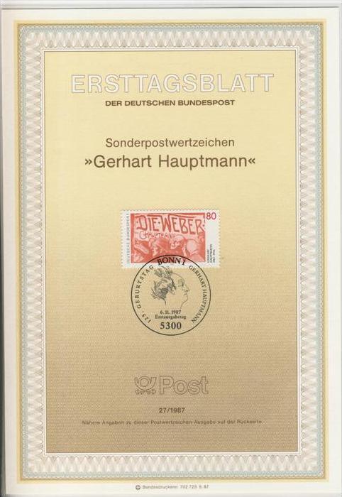 BRD - ETB (Ersttagsblatt)  27/1987 -- Gerhard Hauptmann
