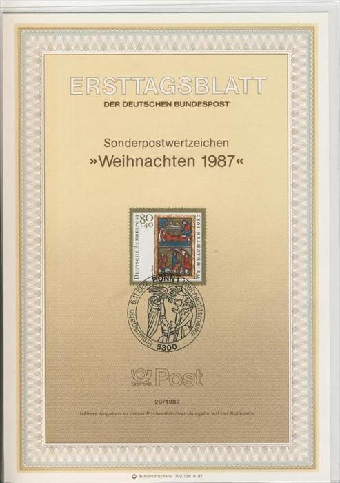 BRD - ETB (Ersttagsblatt)  29/1987 -- Weihnachten 1987