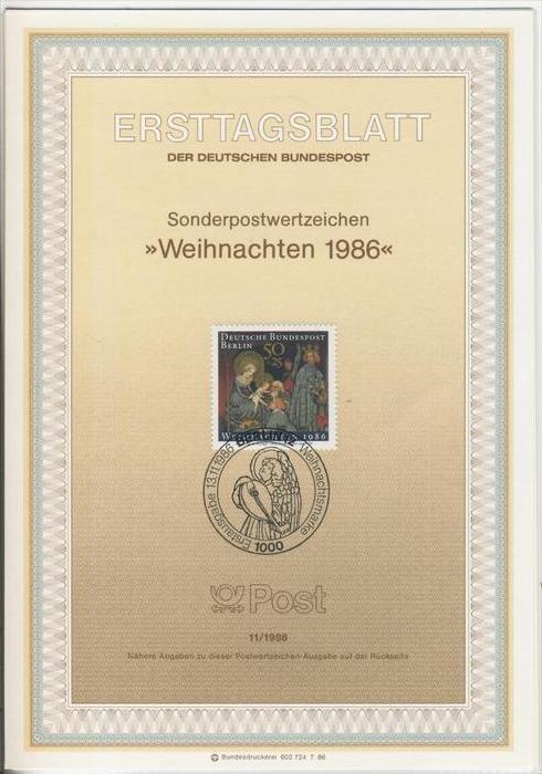 Berlin (West) - ETB (Ersttagsblatt)  11 / 1986 -- Weihnachten