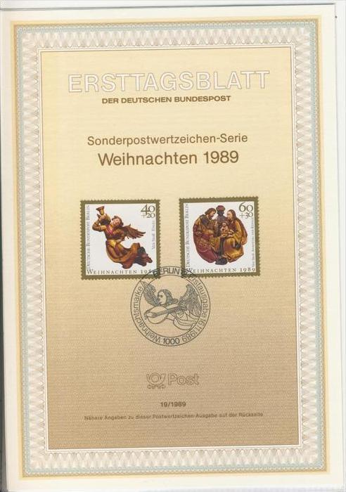 Berlin (West) - ETB (Ersttagsblatt)  19 / 1989 -- Weihnachten