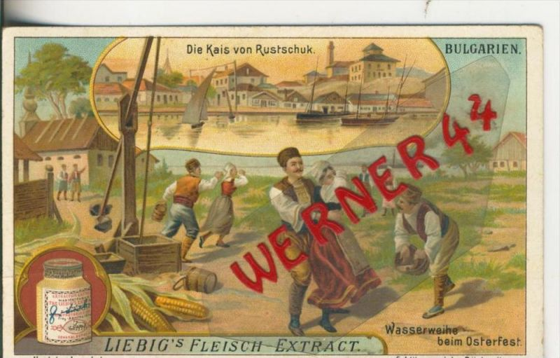Liebig`s - Bulgarien, Die Kais von Rustschuk, Wasserweihe beim Osterfest -- Sammelbild   (13)