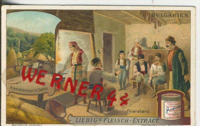 Liebig`s - Bulgarien, Dreschtennen in Seltsi, Feierabend -- Sammelbild   (16)
