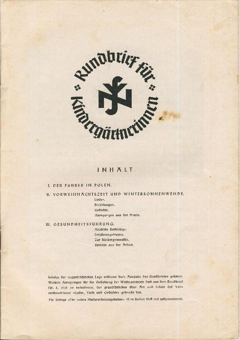 Rundbrief für Kindergärtnerinnen v. 1939   Heft 4  - siehe Foto !!  (ohne) 1