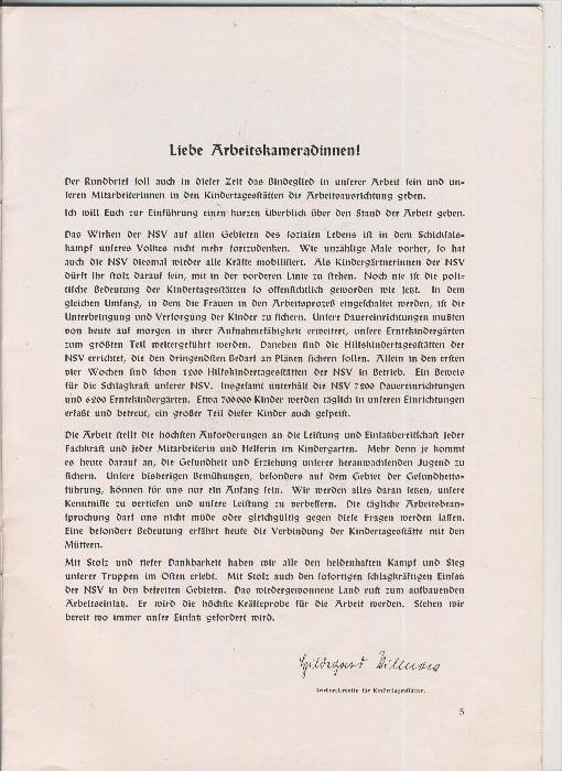 Rundbrief für Kindergärtnerinnen v. 1939   Heft 4  - siehe Foto !!  (ohne) 3
