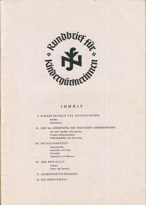 Rundbrief für Kindergärtnerinnen v. 1940   Heft 2  - siehe Foto !!  (ohne) 1