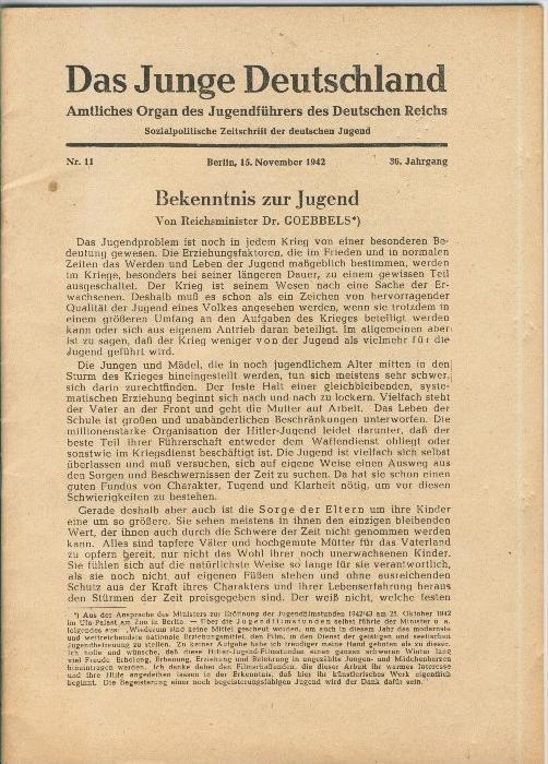 Das Junge Deutschland v. 1942   Nr. 11  - siehe Foto !!  (ohne) 0