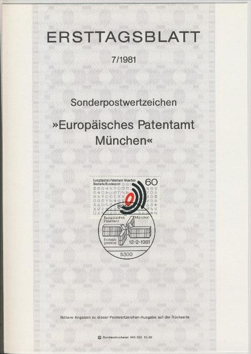 BRD - ETB (Ersttagsblatt)  7/1981 0