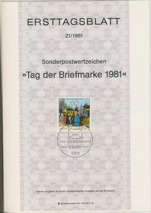 BRD - ETB (Ersttagsblatt)  21/1981 0