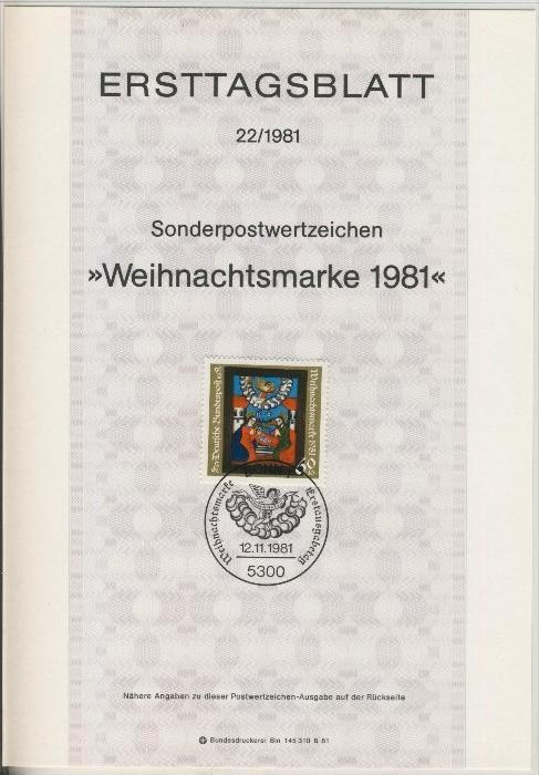 BRD - ETB (Ersttagsblatt)  22/1981 0