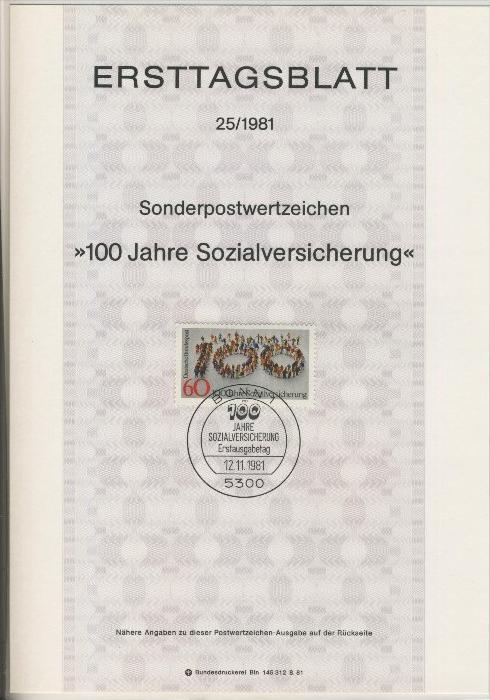 BRD - ETB (Ersttagsblatt)  25/1981 0