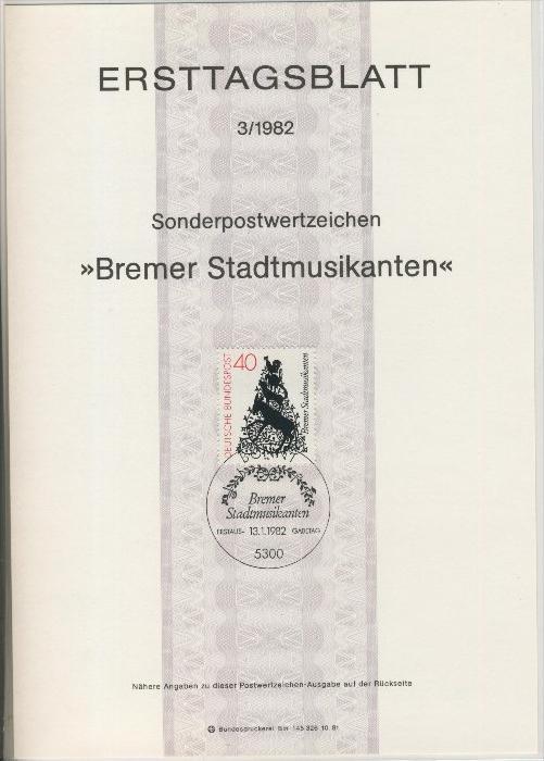 BRD - ETB (Ersttagsblatt)  3/1982 0