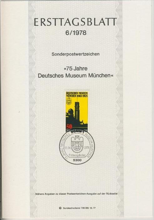 BRD - ETB (Ersttagsblatt) 6/1978 0