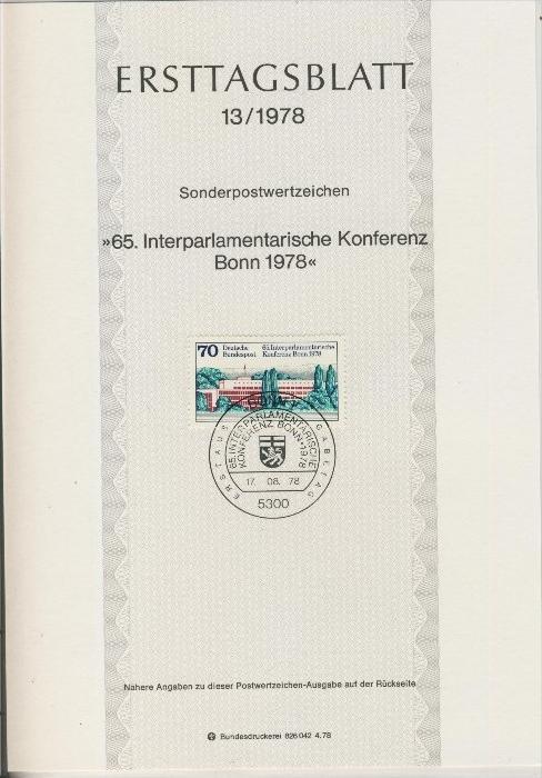 BRD - ETB (Ersttagsblatt) 13/1978 0