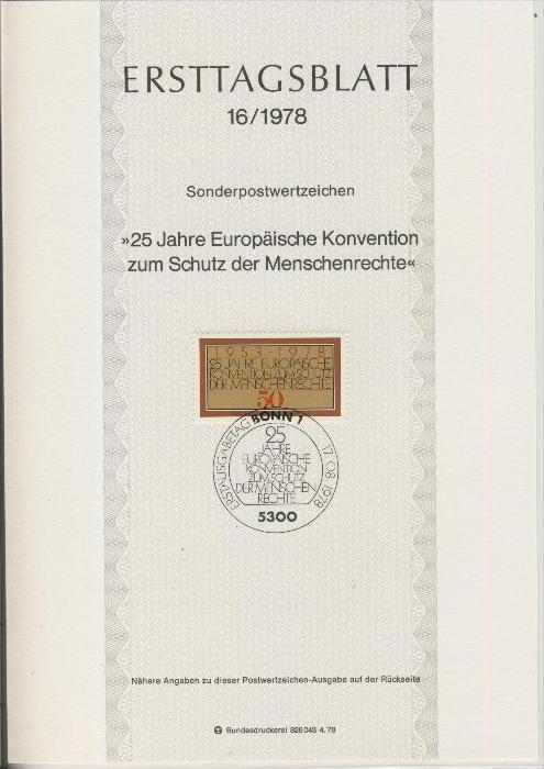 BRD - ETB (Ersttagsblatt) 16/1978 0