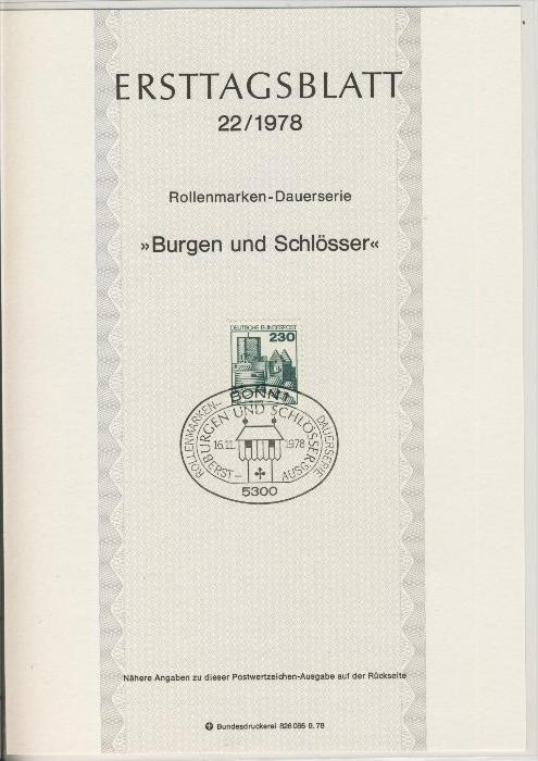 BRD - ETB (Ersttagsblatt) 22/1978 + 1 + 3 / 1979 0