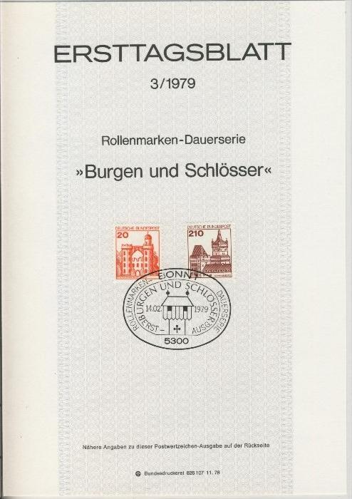 BRD - ETB (Ersttagsblatt) 22/1978 + 1 + 3 / 1979 2