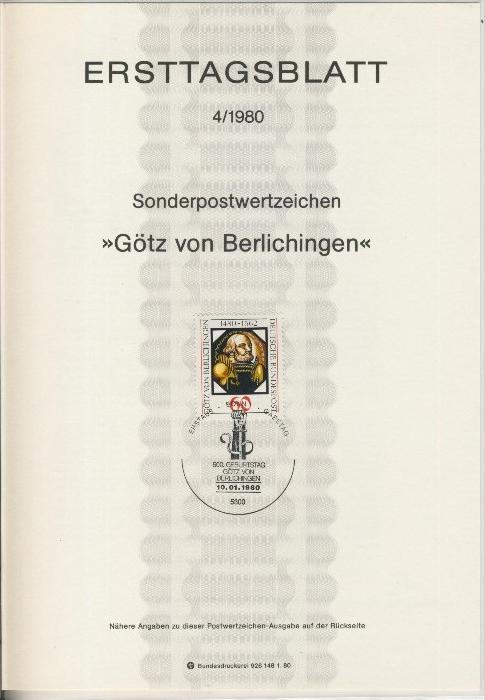BRD - ETB (Ersttagsblatt) 4/1980 0