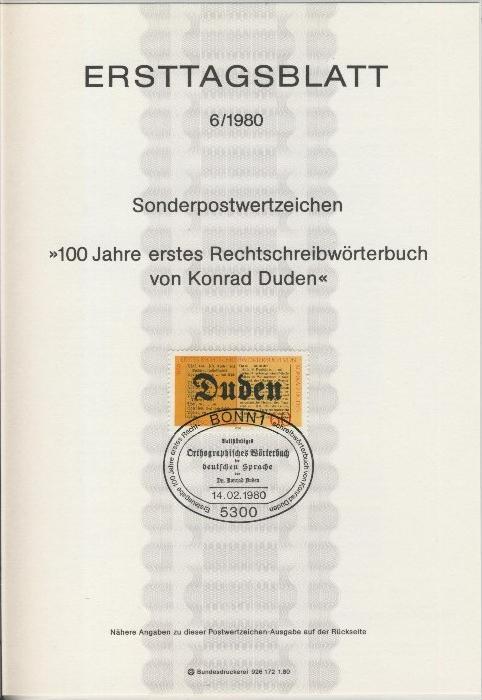 BRD - ETB (Ersttagsblatt) 6/1980 0