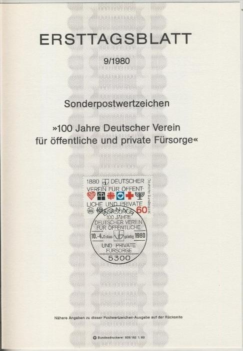 BRD - ETB (Ersttagsblatt) 9/1980