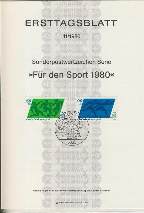 BRD - ETB (Ersttagsblatt) 11+11a./1980 0