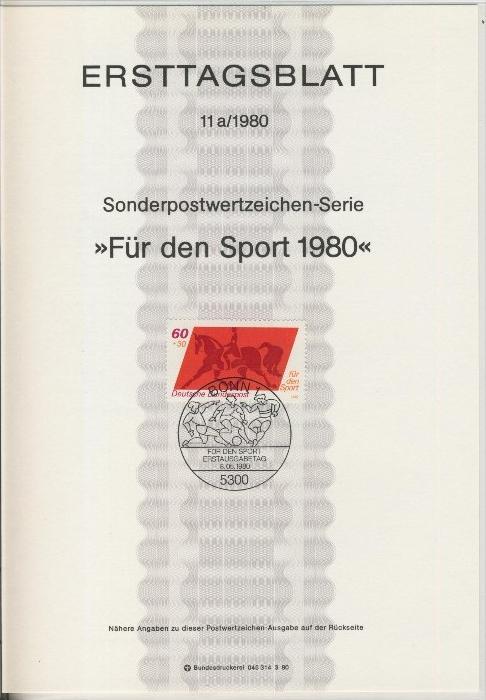 BRD - ETB (Ersttagsblatt) 11+11a./1980 1