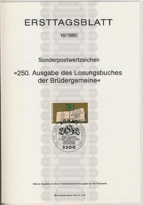 BRD - ETB (Ersttagsblatt) 16/1980