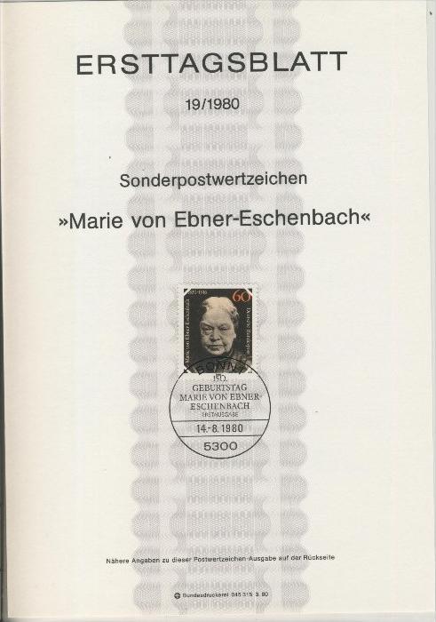 BRD - ETB (Ersttagsblatt) 19/1980