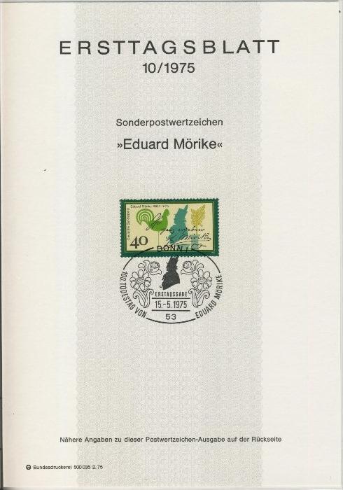 BRD - ETB (Ersttagsblatt) 10/1975 0