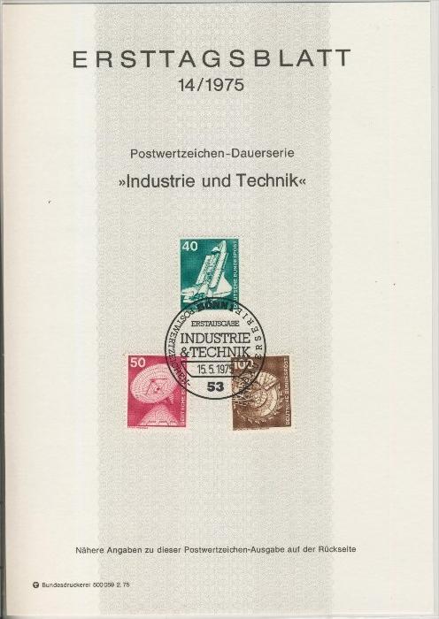 BRD - ETB (Ersttagsblatt) 14+19+21+24/1975 0