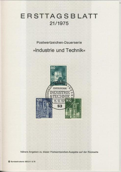 BRD - ETB (Ersttagsblatt) 14+19+21+24/1975 2