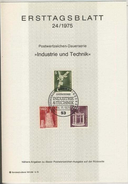 BRD - ETB (Ersttagsblatt) 14+19+21+24/1975 3
