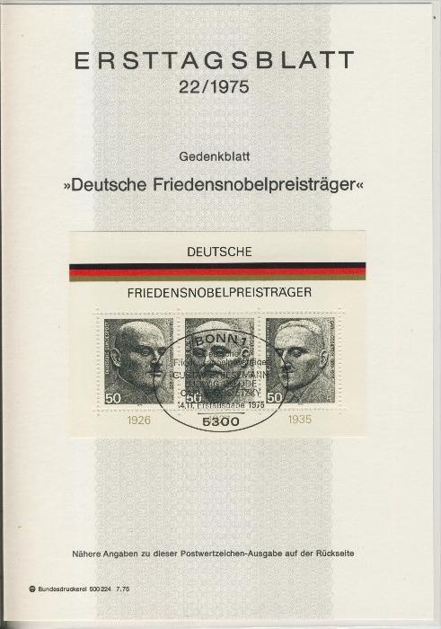 BRD - ETB (Ersttagsblatt)  22/1975 0
