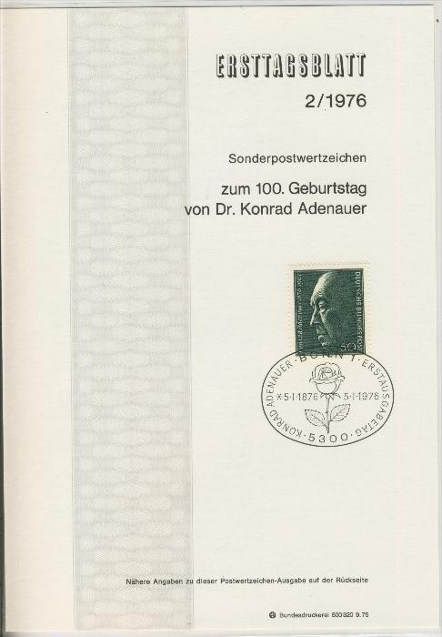 BRD - ETB (Ersttagsblatt)  2/1976 0