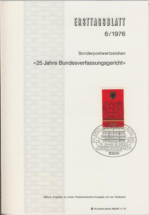 BRD - ETB (Ersttagsblatt)  6/1976 0