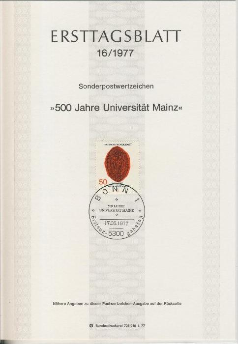 BRD - ETB (Ersttagsblatt)  16/1977 0