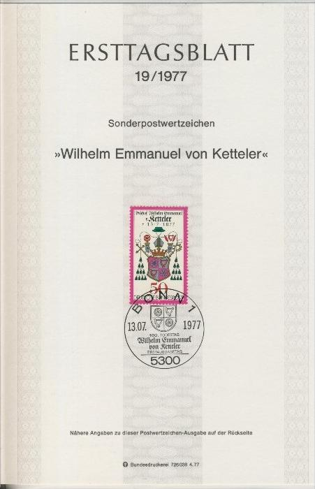 BRD - ETB (Ersttagsblatt)  19/1977 0