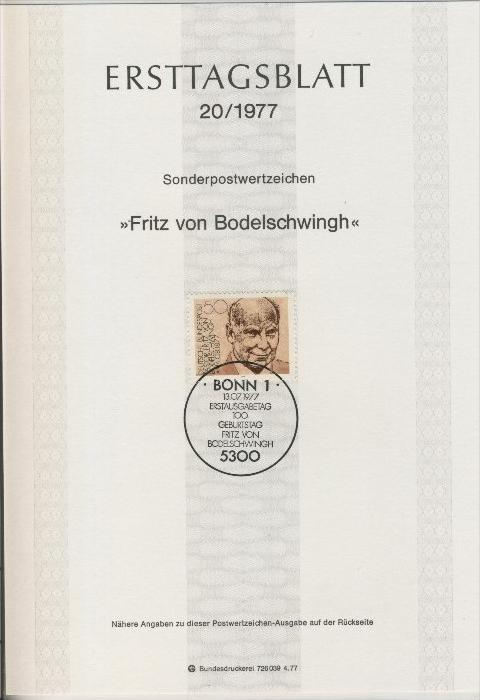 BRD - ETB (Ersttagsblatt)  20/1977 0