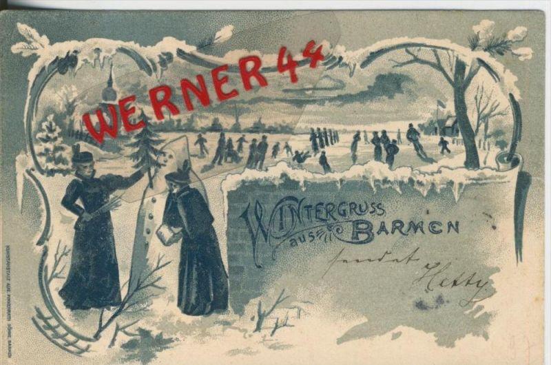 Wintergruss aus Barmen v. 1897  Eislaufen,Schneemann usw.  --  siehe Foto !!  (29400) 0