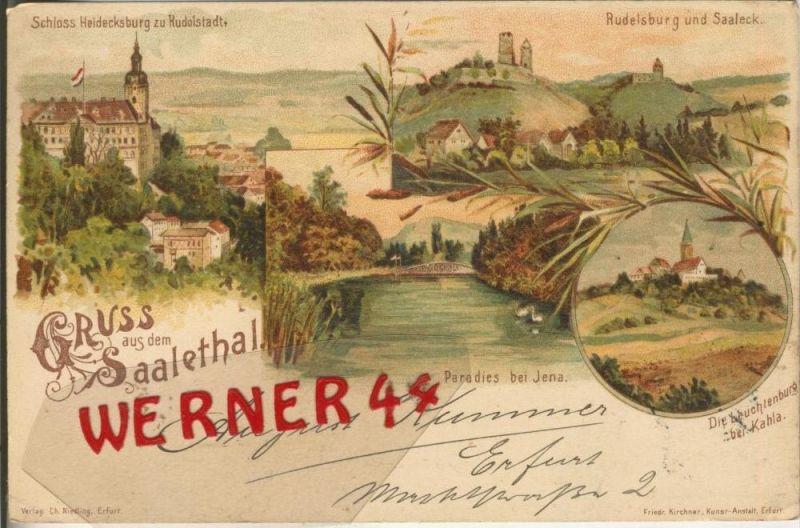 Gruss aus dem Saalethal v. 1898  --  siehe Foto !!  (29403) 0