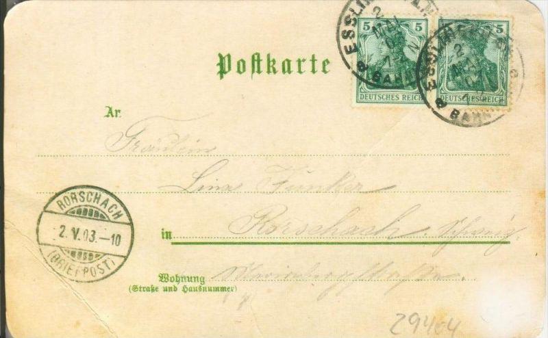 Gruss aus dem Hotel & Cafe Kaiserhof in Heilbronn v. 1903  --  siehe Foto !!  (29404) 1
