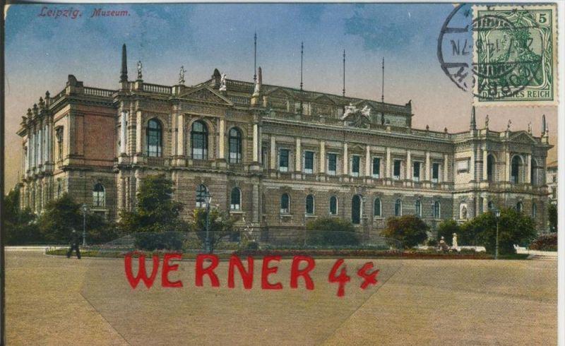 Leipzig v. 1914  Das Museum mit Vorplatz  ()  --  siehe Foto !!  (29408) 0
